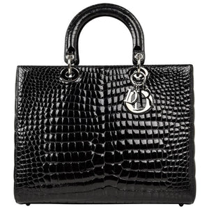 Christian Dior Bag Lady Dior Black Crocodile Large Ruthenium Hardware