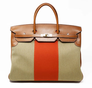 Hermes Birkin Bag 40cm Toile with Orange Stripe and Gold Hardware