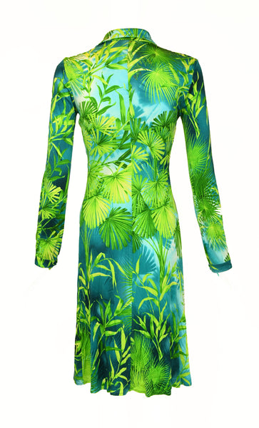 Gianni Versace Couture Tropical Print Dress In Green
