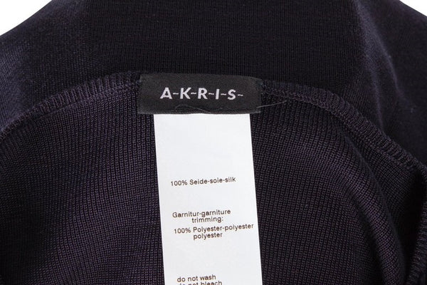Akris Sweater / Top Ruffled Front Dark Navy 12 Mint
