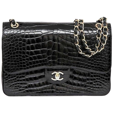 Chanel 12A Black Alligator Classic Jumbo Gold Hardware Double Flap Bag