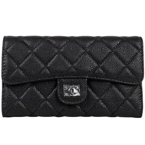 Chanel Wallet Classic Long Black Caviar Leather New