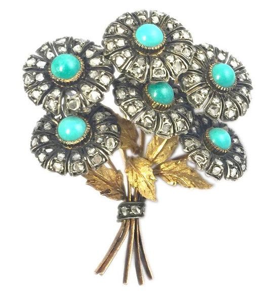 Buccellati Turquoise Diamond Bouquet Brooch