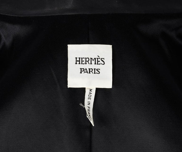 Hermes Jacket Black Layered Lambskin Leather Clou de Selle Snaps 38 / 8 new