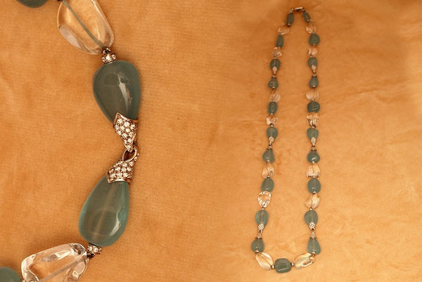 1980s Bulgari Aquamarine and Rock Crystal Sautoir and Earringsss