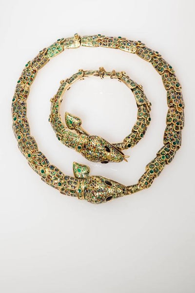 1950s Mexican Enamel Gold Snake Set