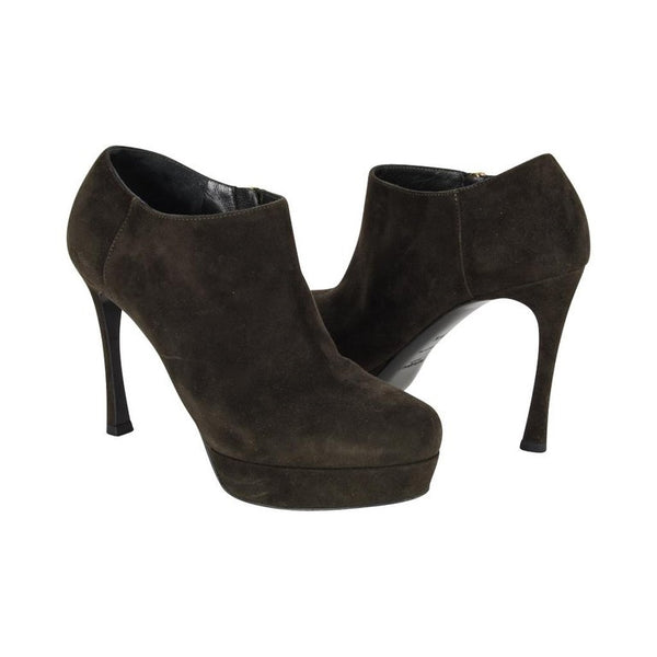 YSL Bootie Dark Green Suede Ankle Boot Yves Saint Laurent 36.5 / 6.5