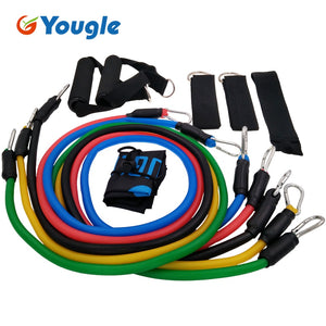 YOUGLE 11pcs/set Pull Rope Fitness Exercises Resistance Bands Crossfit Latex Tubes Pedal Excerciser Body Training Workout Yoga