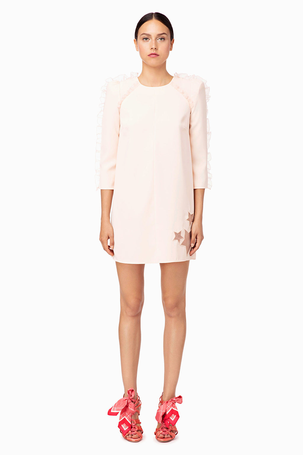 Dusty Rose Mini Dress with Long Sleeves and Star Accent