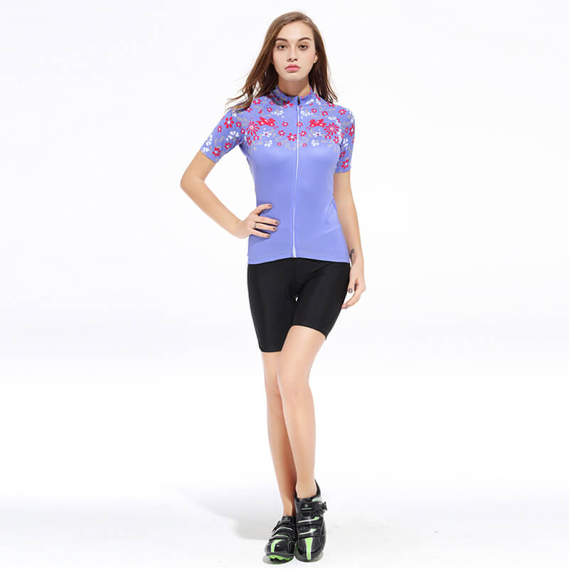 Women's Short Sleeve Cycling Kit - Light Purple Flower