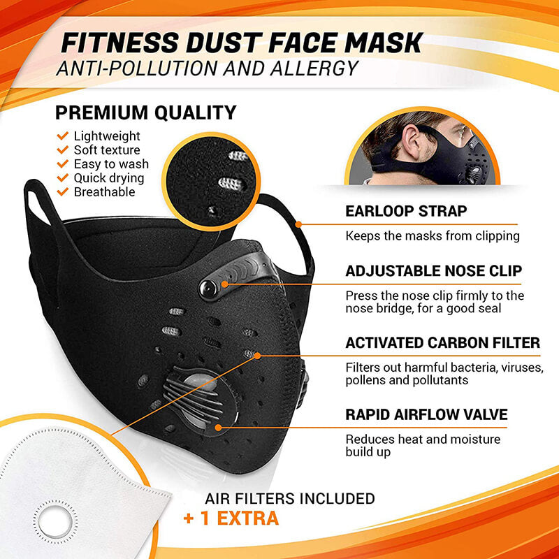 Cycling Mask Hanging Ear Mask Anti-dust Anti-pollution Mask with Air Filters