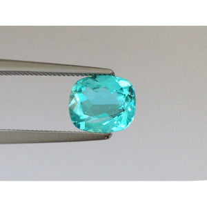 Natural Brazilian Paraiba Tourmaline neon greenish-blue color cushion shape 0.97 carats with GRS Report