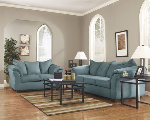 Shop Ashley Furniture Darcy Sky Sofa and Loveseat at Mealey's Furniture