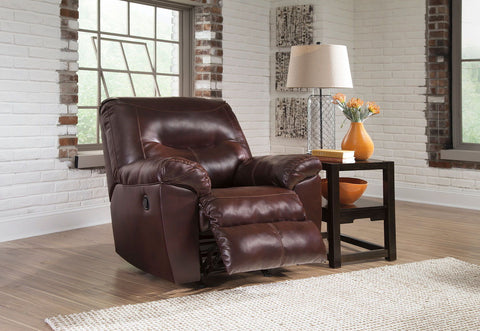 Shop Ashley Furniture Kilzer Mahogany Rocker Recliner   Mahongany at Mealey's Furniture