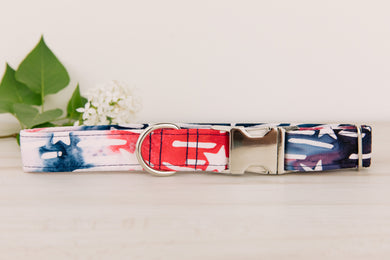 Red White and Blue Stars Watercolour Dog Collar