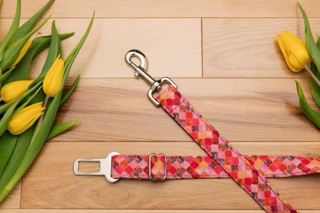 Pink and Gold Moroccan Dog Seatbelt