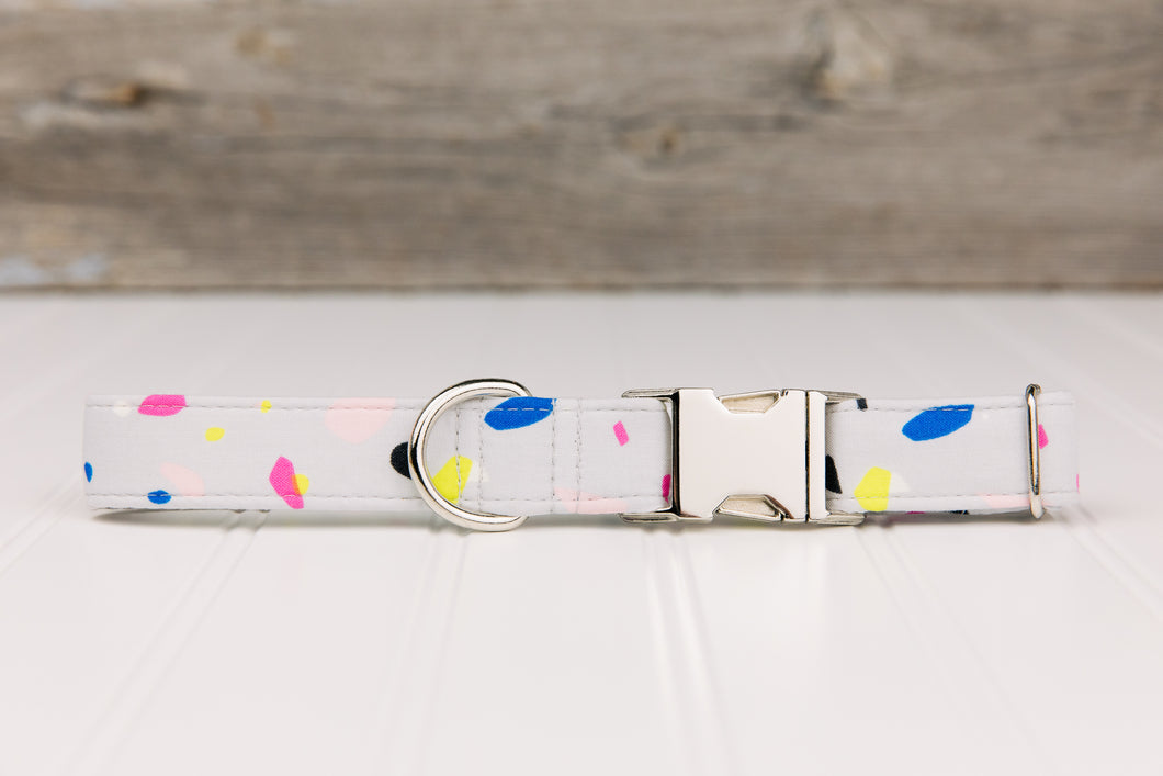 Grey with Neon Spots Dog Collar