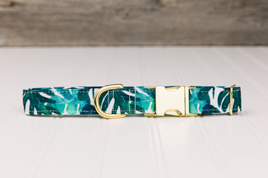 Water Resistant Tropical Palm Leaves Dog Collar