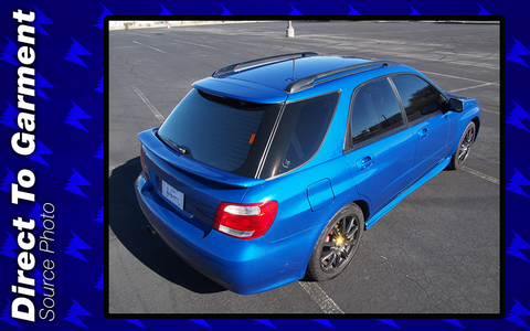 2007 Subaru Impreza WRX Wagon in World Rally Blue (WRB) - sedan widebody, SAAB 9-2X rear end, plus waist spoiler on grey BBS Wheels