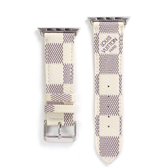 LL leather strap, Apple watch strap, White Damier band, Apple Watch 42 mm/38 mm