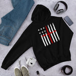 American Flag And Cross Hoodie (UNISEX) |  Limited Time Patriotic Christian Hoodie | Black - Kingdom Christian Clothing Store