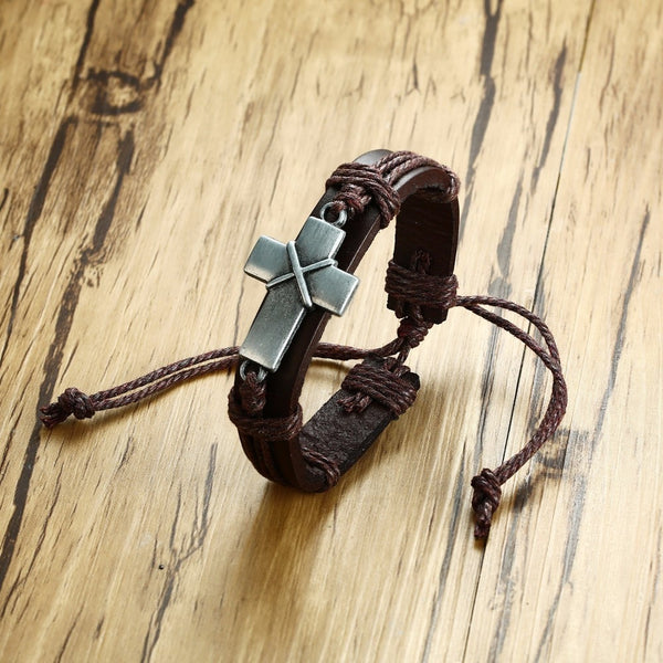 Ancient Cross Vintage Leather Bracelet | Men's Christian Jewelry - Kingdom Christian Clothing Store