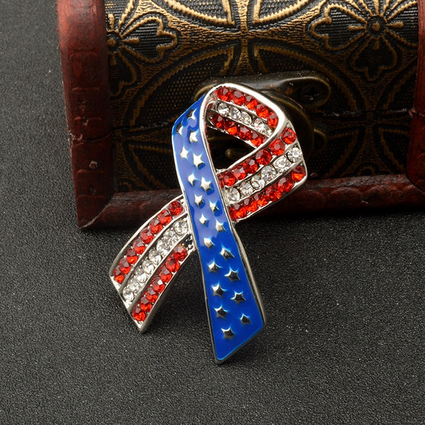 Patriotic Flag Ribbon Usa Pin | Flag Tie Patriotic Pin | Patriotic Jewelry - Kingdom Christian Clothing Store