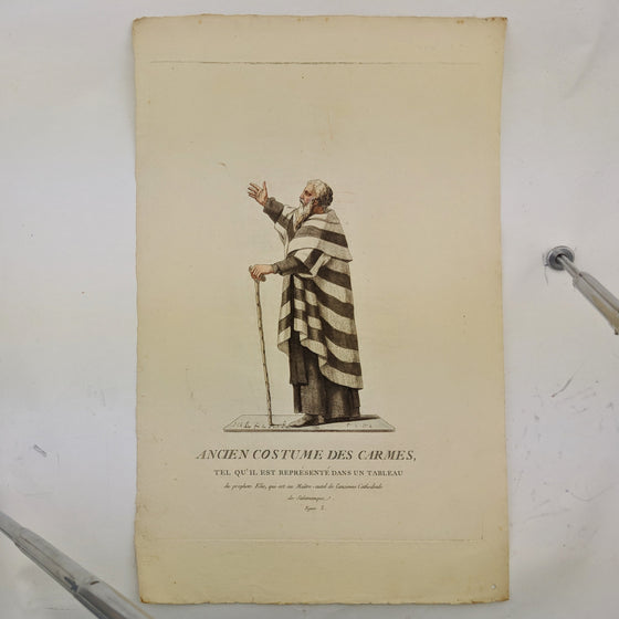 Ancient Catholic priest clothing - Hand coloured print