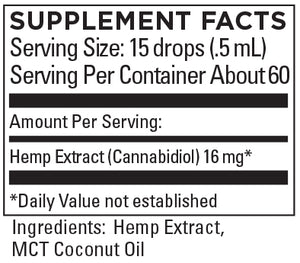 KR Broad Spectrum Hemp Extract 16+mg/serving 1 FL OZ (30mL) BLENDED WITH MCT COCONUT OIL