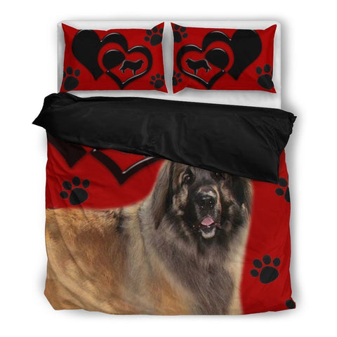 Valentine's Day Special-Leonberger Dog Red Print Bedding Set-Free Shipping-Paww-Printz-Merchandise