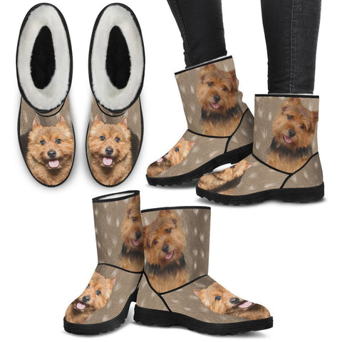 Norwich Terrier Print Faux Fur Boots For Women-Free Shipping-Paww-Printz-Merchandise