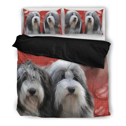 Valentine's Day Special-Bearded Collie Red Print Bedding Set-Free Shipping-Paww-Printz-Merchandise