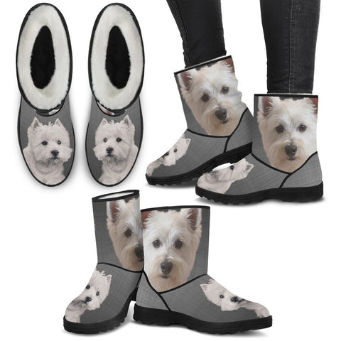 West Highland White Terrier Print Faux Fur Boots For Women-Free Shipping-Paww-Printz-Merchandise