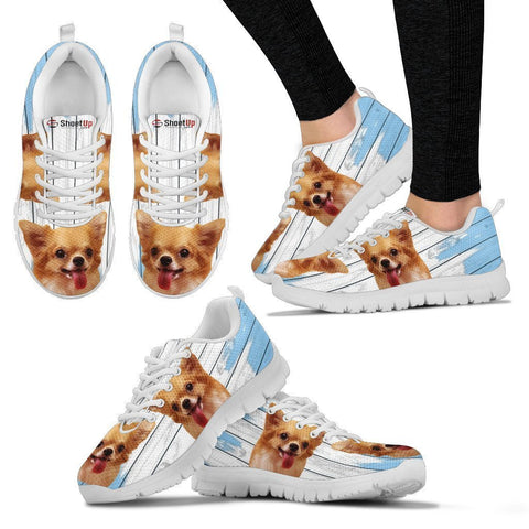 Chihuahua Blue White Print Sneakers For Women-Free Shipping-Paww-Printz-Merchandise
