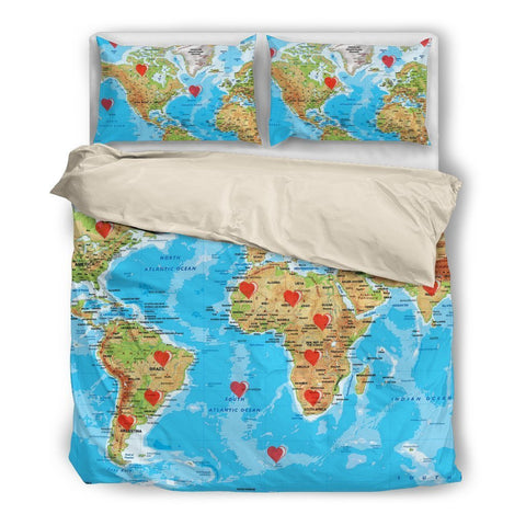 Valentine's Day Special World Map Print Bedding Set- Free Shipping-Paww-Printz-Merchandise