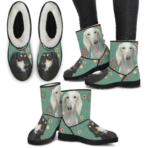 Saluki Print Faux Fur Boots For Women-Free Shipping-Paww-Printz-Merchandise