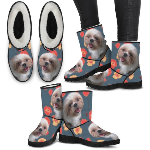 Shih Tzu Print Faux Fur Boots For Women-Free Shipping-Paww-Printz-Merchandise