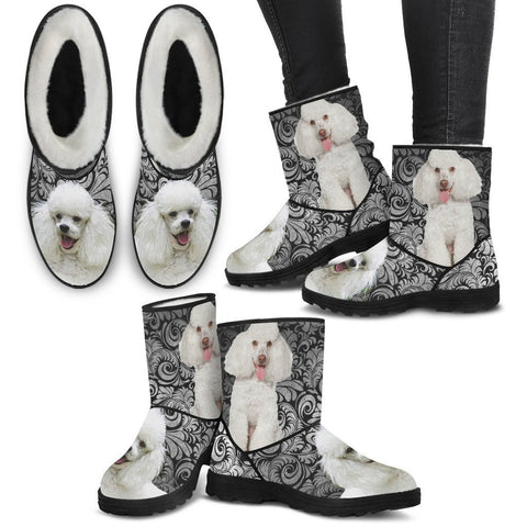 Poodle Print Faux Fur Boots For Women-Free Shipping-Paww-Printz-Merchandise