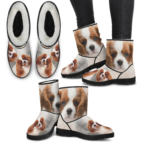 Cute Cavalier King Charles Spaniel Print Faux Fur Boots For Women- Free Shipping-Paww-Printz-Merchandise