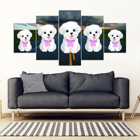 Maltese Print-5 Piece Framed Canvas- Free Shipping-Paww-Printz-Merchandise
