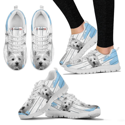 West Highland White Terrier (Westie) Blue White Print Sneakers For Women-Free Shipping-Paww-Printz-Merchandise