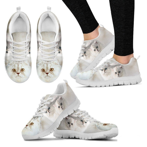 White Persian Cat Print Running Shoe For Women- Free Shipping-Paww-Printz-Merchandise