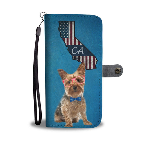 Yorkshire Terrier Print Wallet Case-Free Shipping-CA State