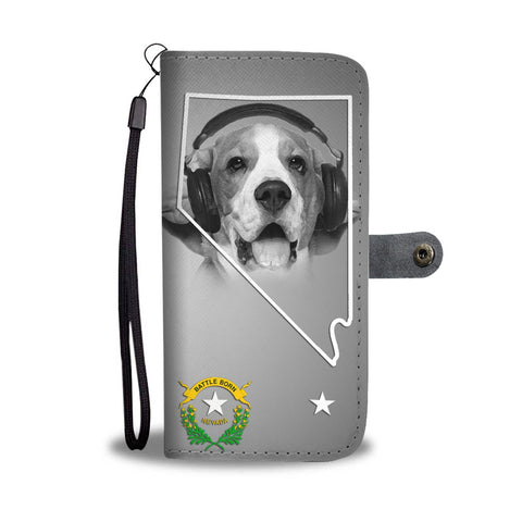 Beagle On White Print Wallet Case- Free Shipping-NV State