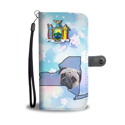 Pug Dog Print Wallet Case-Free Shipping-NY State