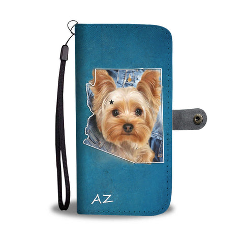 Cute Yorkshire Terrier Print Wallet Case-Free Shipping- AZ State