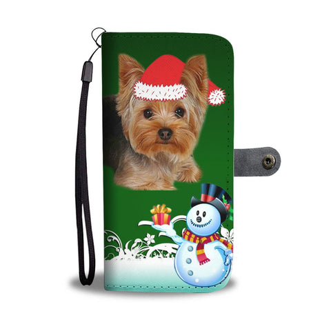 Yorkshire Terrier (Yorkie) Green Christmas Print Wallet Case-Free Shipping