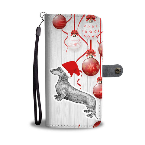 Dachshund Dog Christmas Print Wallet Case-Free Shipping