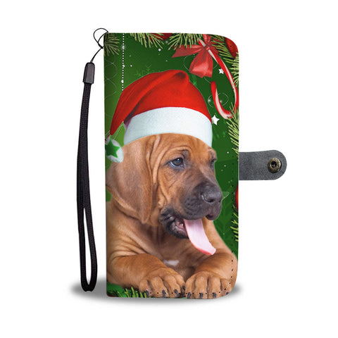 Bloodhound On Christmas Print Wallet Case-Free Shipping