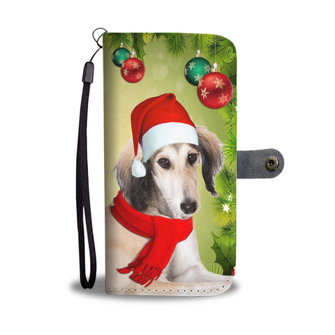 Cute Saluki Dog On Christmas Print Wallet Case-Free Shipping